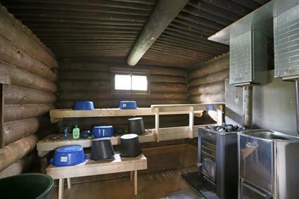 Huosiusjärvi sauna sisältä